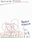 Rob Pollak how to be an asshole drawing of Yankee fans in Yankee stadium