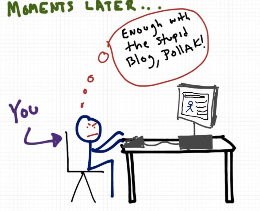 Rob Pollak drawing of blog reader