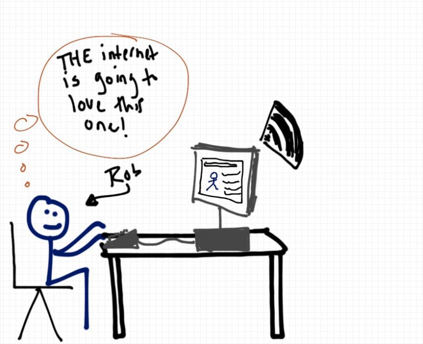 Rob Pollak drawing of blogger