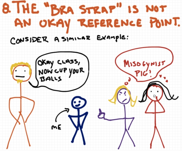 The bra strap is not an okay reference point - Rules for yoga teachers - a drawing by Rob Pollak