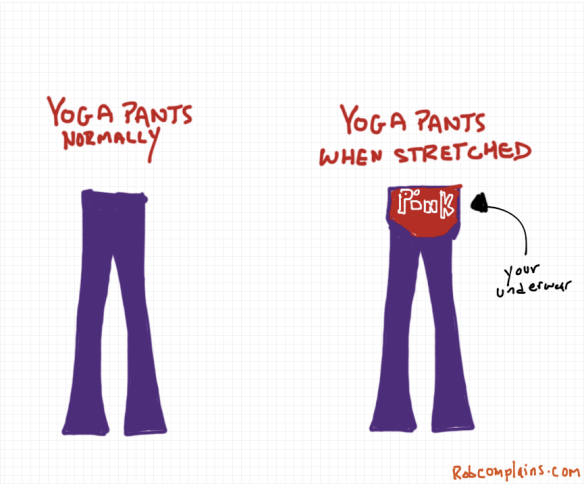 What happens to yoga pants when stretched - a drawing