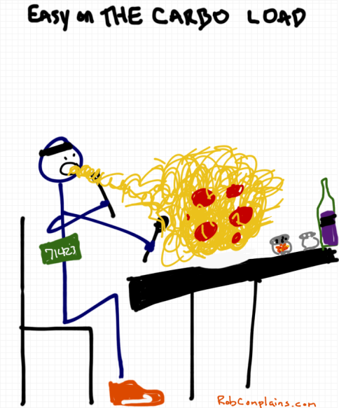 A stick figure eating spaghetti to carbo load for a half marathon cartoon by rob pollak