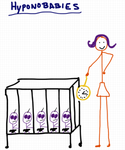 A drawing by Rob Pollak hypnobirthing and hypnobabies